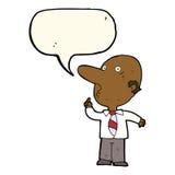 cartoon bald man asking question with speech bubble Stock Photos