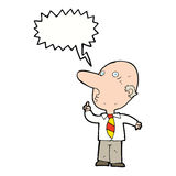 Cartoon bald man asking question with speech bubble Stock Images