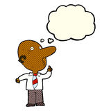 Cartoon bald man asking question with thought bubble Royalty Free Stock Image