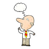 Cartoon bald man asking question with thought bubble Royalty Free Stock Photography