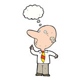 Cartoon bald man asking question with thought bubble Stock Image