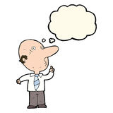 Cartoon bald man asking question with thought bubble Royalty Free Stock Photo