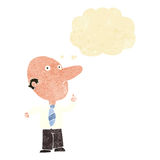 Cartoon bald man asking question with thought bubble Royalty Free Stock Photos