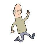 Cartoon bald man with idea Royalty Free Stock Image