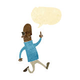 Cartoon bald man with idea with speech bubble Royalty Free Stock Photos