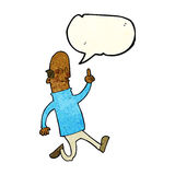 Cartoon bald man with idea with speech bubble Stock Images