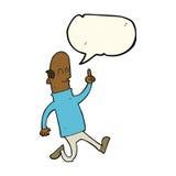 Cartoon bald man with idea with speech bubble Royalty Free Stock Photo