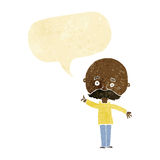 Cartoon bald man with idea with speech bubble Royalty Free Stock Images