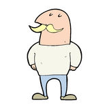 Cartoon bald man with mustache Royalty Free Stock Photography