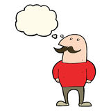 Cartoon bald man with mustache with thought bubble Royalty Free Stock Photo