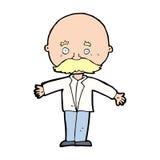 Cartoon bald man with open arms Stock Photo