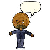 Cartoon bald man with open arms with speech bubble Royalty Free Stock Photo