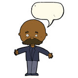 Cartoon bald man with open arms with speech bubble Stock Photography
