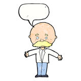 Cartoon bald man with open arms with speech bubble Stock Image