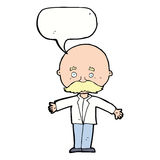 Cartoon bald man with open arms with speech bubble Stock Photo