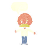 Cartoon bald man with open arms with speech bubble Royalty Free Stock Images