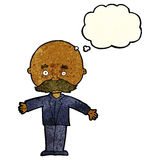 Cartoon bald man with open arms with thought bubble Stock Photo