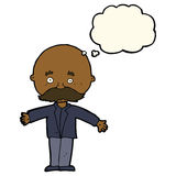Cartoon bald man with open arms with thought bubble Stock Image