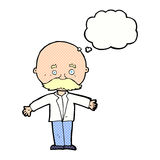 Cartoon bald man with open arms with thought bubble Stock Images