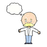 Cartoon bald man with open arms with thought bubble Royalty Free Stock Images