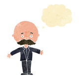 Cartoon bald man with open arms with thought bubble Royalty Free Stock Photos