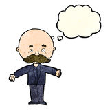 Cartoon bald man with open arms with thought bubble Royalty Free Stock Photo