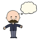 cartoon bald man with open arms with thought bubble Stock Photos