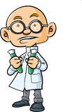 Cartoon bald scientist with two test tubes Stock Photography