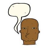 Cartoon bald tough guy with speech bubble Stock Images