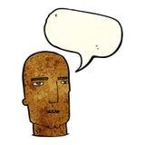 Cartoon bald tough guy with speech bubble Royalty Free Stock Image