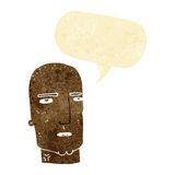Cartoon bald tough guy with speech bubble Stock Image
