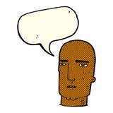 Cartoon bald tough guy with speech bubble Stock Photo