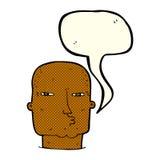Cartoon bald tough guy with speech bubble Royalty Free Stock Photos