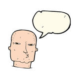 Cartoon bald tough guy with speech bubble Royalty Free Stock Image