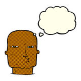 Cartoon bald tough guy with thought bubble Royalty Free Stock Images