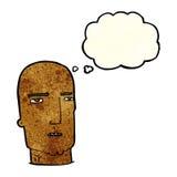 Cartoon bald tough guy with thought bubble Royalty Free Stock Photos