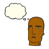 Cartoon bald tough guy with thought bubble Stock Photography