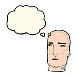 Cartoon bald tough guy with thought bubble Royalty Free Stock Image