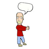 Cartoon balding man explaining with speech bubble Stock Photography