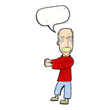 Cartoon balding man explaining with speech bubble Royalty Free Stock Photography