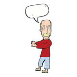 Cartoon balding man explaining with speech bubble Royalty Free Stock Image