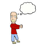 Cartoon balding man explaining with thought bubble Royalty Free Stock Images