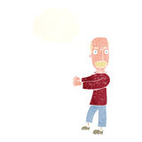 Cartoon balding man explaining with thought bubble Stock Photo