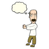 Cartoon balding man explaining with thought bubble Royalty Free Stock Image