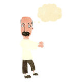 Cartoon balding man explaining with thought bubble Stock Images