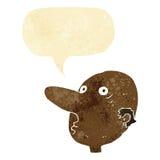 Cartoon balding man with speech bubble Stock Photo