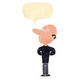 Cartoon balding man with speech bubble Stock Image