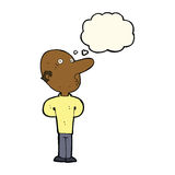 Cartoon balding man with thought bubble Stock Image
