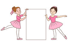 Cartoon ballerina girls holding blank sign template Stock Image