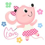 Cartoon ballerina rat with ribbon wand illustration vector. Beautiful little ballerina rat dancing with ribbon wand isolated on white background illustration Stock Images